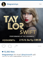 An image of Taylor Swift on The Grammy's Instagram