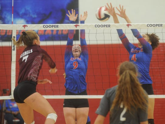 Cooper's Caylee Collier (9) and Alexis Garcia (4) try