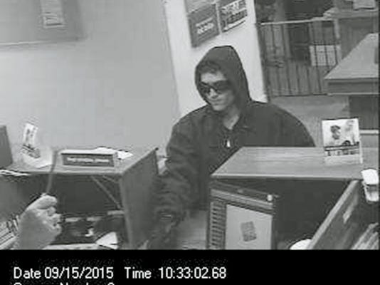 South Lebanon Township police are searching for this suspect is Tuesday's robbery of M&T Bank at 903 State Drive.  The suspect, who was caught on a security camera, is described as a clean shaven white man, standing about 5-feet 6-inches tall with a thin build. He was wearing black gloves, blue jeans and black sneakers with red soles. He was handed an undisclosed amount of cash and was last seen headed south on foot. Anyone seeing a man of this description or has information about the robbery is asked to contact police at 717-274-0481. Submitted