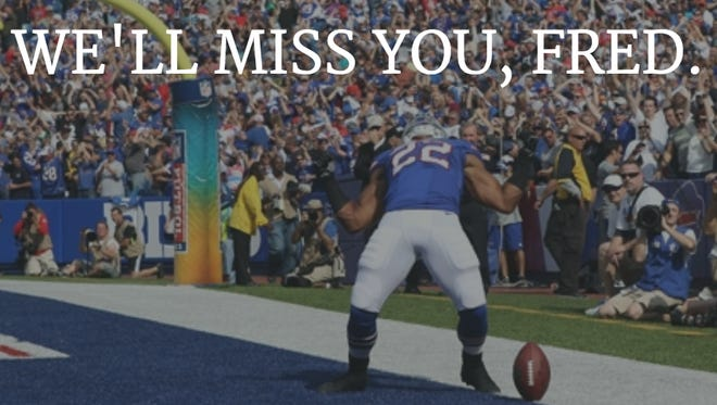A file photo shows Fred Jackson celebrating after a touchdown on September 29, 2013.