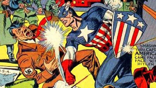 From Captain America's '40s debut, by Joe Simon and Jack Kirby.