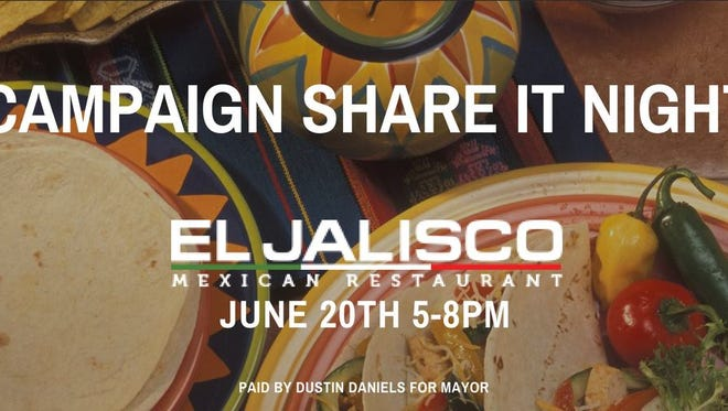 Dustin Daniels inviting folks to a share-it fundraiser at El Jalisco June 20.