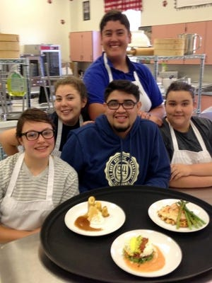 Member of the Deming High School Culinary Arts Team are, from bottom left, Olivia Holguin, Team Captain Isaiah Prieto and Jasmine Sheridan. In back are Dominique Jacobo and AJ Sera.