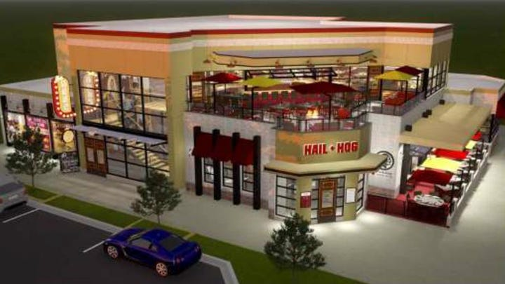 A rendering of the Hail Hog restaurant