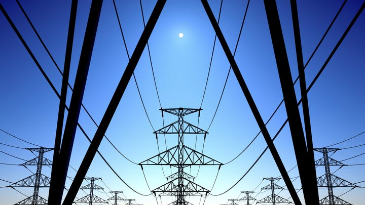 Power lines on blue sky - Generic Image