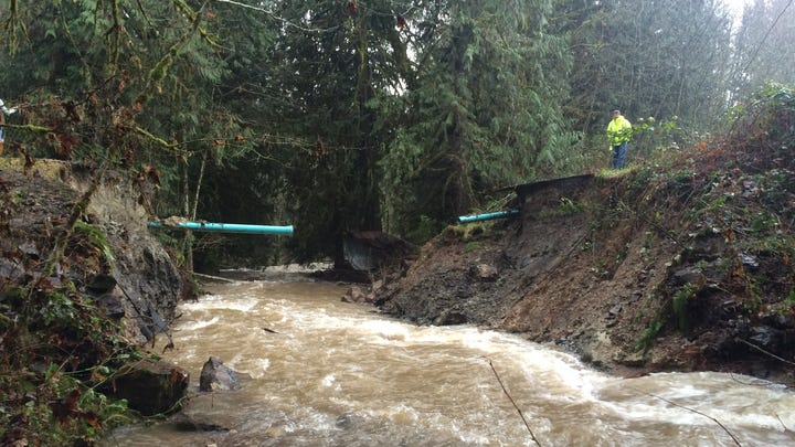 Washed out road strands La Center families