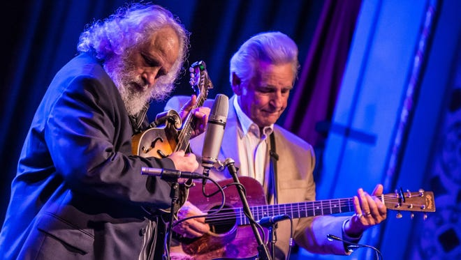 """David """"Dawg"""" Grisman, left, and Del McCoury take the stage together for their """"Del and Dawg"""" concert Oct. 22 at Door Community Auditorium in Fish Creek."""