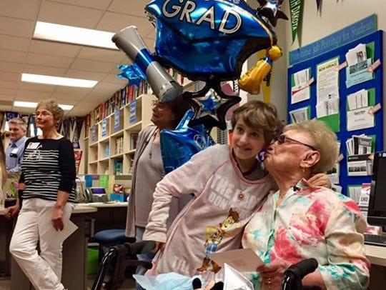 Esther Begam greets her great granddaughter Talia Segal