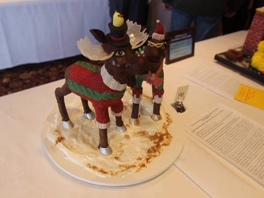 A pair of reindeer you can eat sit out on Sunday. One of the event's rules is that all gingerbread entries must be edible.