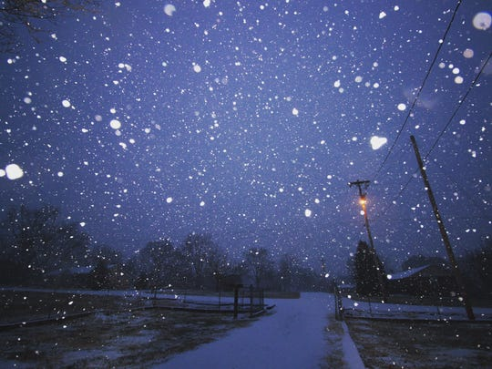 An early morning snapshot captures the start of the snowfall from reader Jacob Hughey off state route 231 and Compton Road in Murfreesboro on Jan. 16.