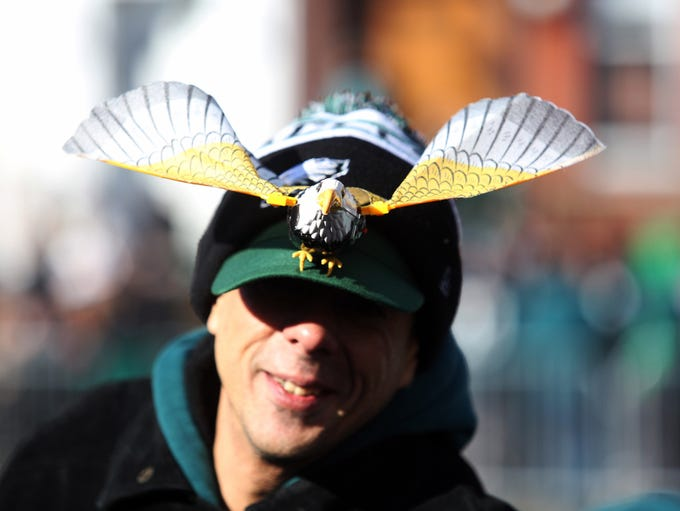 Detail of an Eagles hat as the Philadelphia Eagles