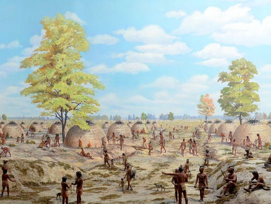 The diorama of Poverty Point depicting the time around