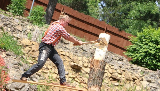 Chas Haas of Sobieski is one of eight lumberjacks from across the country competing in the Stihl Timbersports U.S. Collegiate Championship on July 30 at German Fest in Milwaukee. The 22-year-old University of Wisconsin-La Crosse student is the reigning Midwest collegiate champ.