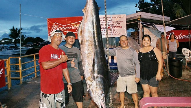 This 493-pound marlin was caught by Perry Enos, captain of the Bella. The next-heaviest marlin after Day 1 weighed 296 pounds. The 22nd Annual Guam Marianas International Fishing Derby continues on Sunday.