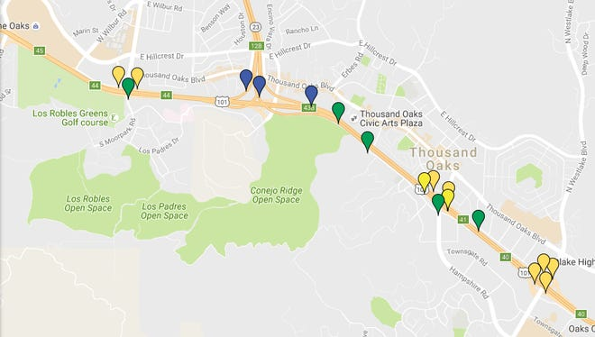 A map of all the sites seeing road closure and lane reductions the week of October 9th. Blue pinpoints represent connector closures, green pin points represent lane reductions, and yellow pinpoints represent ramp closures.