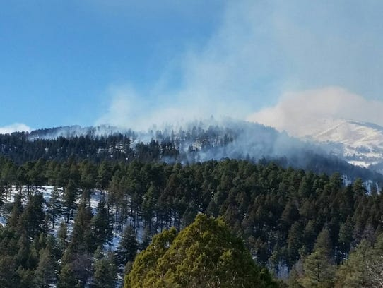 Smoke from a prescribed burn in the Lincoln National