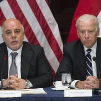 Vice President Joe Biden, right, and Iraqi Prime Minister Haider Al-Abadi hold an April 16 meeting in Washington.