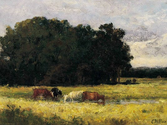 Four Cows in a Meadow, Oil on Canvas
