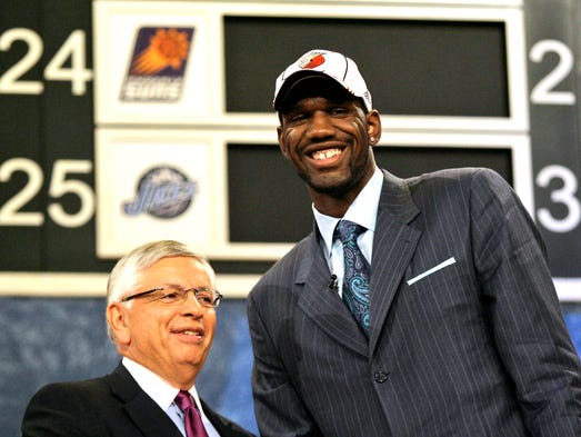 Ohio State's Greg Oden, right is shown with NBA commissioner David Stern after being selected by Portland Trail Blazers as the No. 1 overall in the first round of the 2007 NBA Draft, June 28, 2007 in New York.