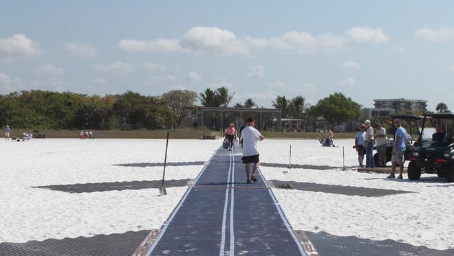 Mobi-Mats make beaches accessible for people with mobility devices and strollers, as well as for pedestrians.