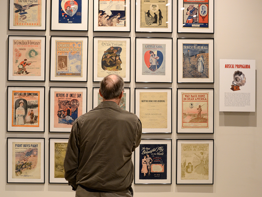 "The exhibit ""Propaganda: Selling A War"" is on display"