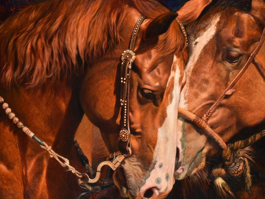 "Julie Bell's ""Backstage Jitters,"" an oil on canvas, is part of the Art of the Horse exhibit which can be seen now through Nov. 20 In the Farmhouse at Farmstead Arts in the Basking Ridge section of Bernards."