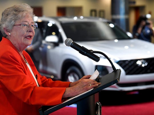 Alabama Governor Kay Ivey speaks during a jobs and expansion announcement at the Hyundai plant in Montgomery, Ala. on Tuesday May 29, 2018.