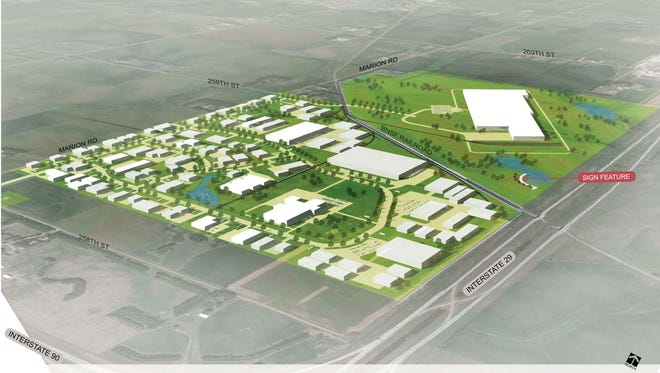A site plan of the future Foundation Park shows a variety of uses and one mega-project.