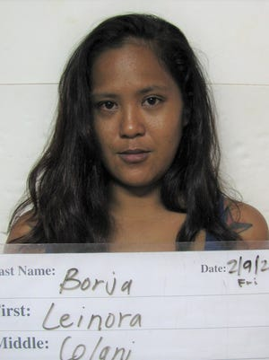Leinora Colani Borja, 27,  arrested on suspicion of robbery, disorderly conduct, criminal mischief, conspiracy, jurisdiction over an adult, unsworn falsification and assault.