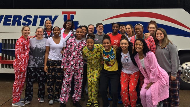 The Lady Techsters embarked on a two-game road trip in their best pajamas, an idea put into action by head coach Brooke Stoehr (far left).