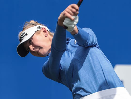 Jessica Korda tees off on 1 during the 3rd round of