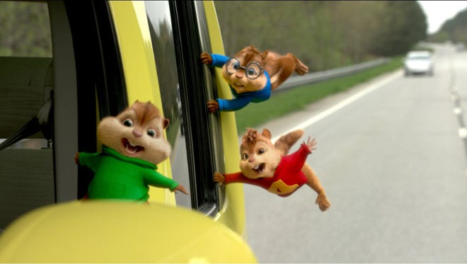 "Theodore, Alvin and Simon go on a wild ""road chip"" in ""Alvin and the Chipmunks: The Road Chip."" (Twentieth Century Fox)"