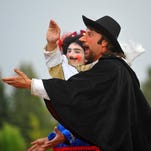 "Shakespeare in the Park's production of ""Cyrano de Bergerac"" gets underway after a slight rain delay on Saturday evening at the University of Great Falls."