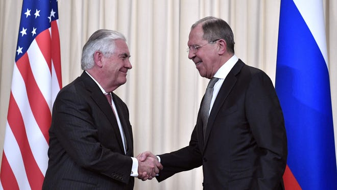 Russian Foreign Minister Sergei Lavrov, right, with Secretary of State Rex Tillerson in Moscow on April 12, 2017.