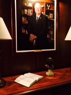 A Bible rests on a table in the House of Representatives' member lounge