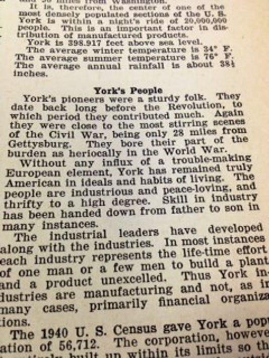 "My favorite line here is ""York's pioneers were a sturdy folk."""