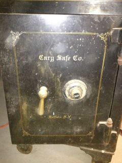 Pictured is an antique safe stolen Friday. Authorities said the safe contains two sticks of dynamite.