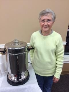 Beverly 'Cookie' Collomp recently 'retired' after 30 years of ensuring Englewood Baptist Church congregants, some 2,500, never went without coffee on Sundays.