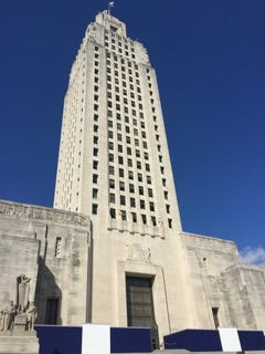 View of State Capitol exterior from the main entrance steps.