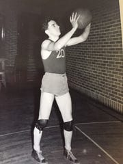 Jim Moore while playing basketball at Felton High in the early 1940s.