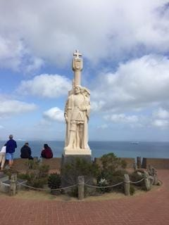 A statue of Juan Rodriguez Cabrillo overlooks San Diego Bay in California. He was the first European to explore the west coast of what is now the United States. That was in 1542.