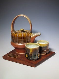 This tea set is the work of Alan Willoughby. His art is featured as part of 'Arts in Bloom' in Salem County.