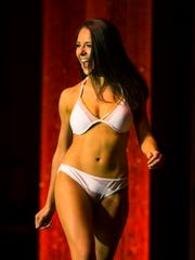 Miss Green Bay Area Courtney Pelot competes in the lifestyle and fitness portion of the Miss Wisconsin scholarship pageant on June 23, 2016.