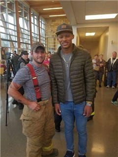 Tennessee quarterback Joshua Dobbs visited people in Gatlinburg affected by the wildfires that raged throughout the Smoky Mountains last week.