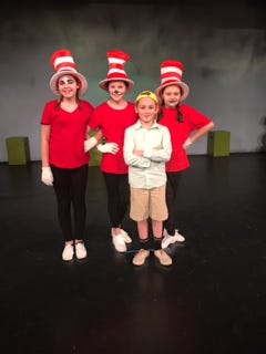 "The cats from D'Alto's ""Suessical"" are from left Bryanna Floyd, Jesse Bacon and Mabrey Rice and Jojo, played by Kadinn Buie."