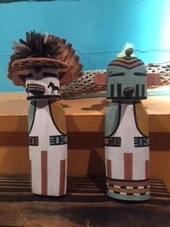 Hopi Kachina dolls carved by Darance Makwesa Chimerica at an exhibition in Desert Hot Springs.