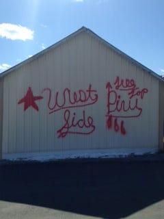 Garage that was spray painted on March 4 in Biglerville.