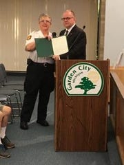 Garden City Fire Chief Cathy Harman and Mayor Randy