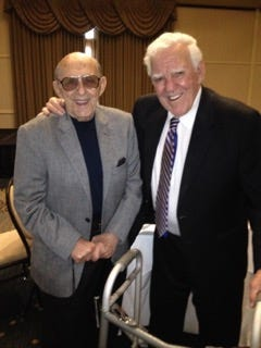 Roger Valdiserri (left) and Ara Parseghian (right) pose together at a luncheon for The Alcohol & Addictions Resource Center, on 10/26/16 honoring the recipient for the Bronze Key Award to Arthur J. Decio, a benefactor to the University of Notre Dame and former member of the Board of Trustees and Retired CEO of Skyline Industries of Elkhart, IN.