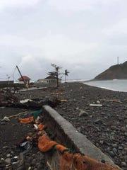 The roads in Scott's Head, Dominica were devastated by Hurricane Maria.